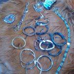 Leather Brackets, Horn Bangles, Magnetic Hematite Beaded Strands